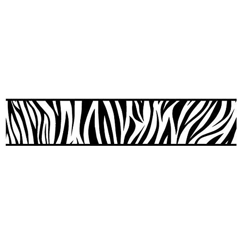 Wadeco Bordüre Zebra Skin Wandtattoo Wandsticker Wandaufkleber 35 Farben verschiedene Größen, 120cm x 89cm, schwarz