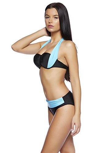 Octopus Softcup / Push-Up-Neckholder-Bikini / elegantes Design / verschiedene Farben / High Waist Slip f58 Push up Bikini Türkis/Schwarz B17(tü/sw)