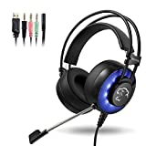 Auriculares Gaming con microfono, Cascos Gaming, Auriculares para Juegos para PS4 / PC/Xbox One/Switch/Tableta/Celular, Headset estereofónico con fantástico LED Luces Roxtak