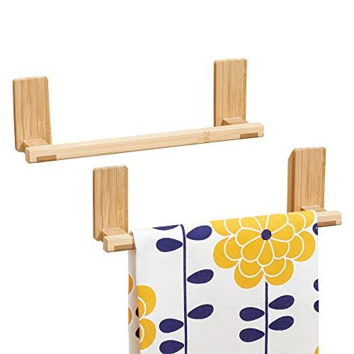mDesign AFFIXX appendi strofinacci da cucina in bambù – porta asciugamani senza forare muro – appendi strofinacci max. 1,36 kg di portata - Set da 2