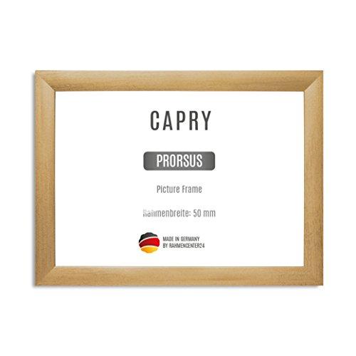 CAPRY PRORSUS 50 mm Bilderrahmen nach Maß für 16 x 12 cm Bilder, Farbe: Gold gewischt, Handgefertigter MDF Rahmen mit bruchfester Anti-Reflex Kunstglasscheibe und stabiler MDF Rückwand, Rahmen Breite: 50 mm, Außenmaß: 24,6 cm x 20,6 cm