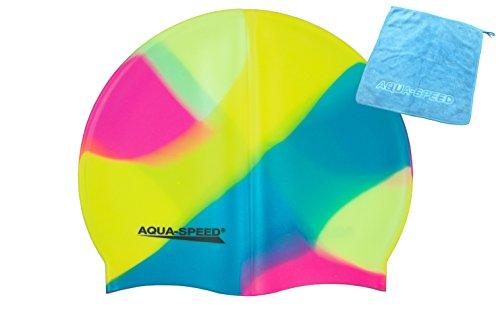 Aqua Speed® Set - BUNT Badekappe + Kleines Mikrofaser Handtuch | Silikon | Bademütze | Badehaube | Schwimmhaube | Erwachsene | Damen | Herren | Kinder, Kappen Designs:51. Bunt / 53