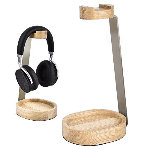 Soporte Auriculares de Madera Bambú & Metal Grueso Aluminio Soporte para auriculares de madera colgador para soporte de auriculares (A)