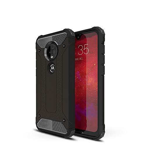 LAGUI Passend für Motorola Moto G7 Power Hülle, Stylisch Trend Rugged TPU/PC Dual Layer Outdoor Schutzhülle, schwarz