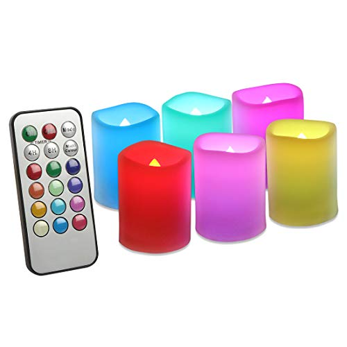 EverBrite Set di 6 Candele a LED Senza Fiamma con Telecomando e Timer Luce Decorativa Cambia Colore con Batterie Decorazioni per Natale Feste Matrimonio Compleanno Casa Giardino Esterno