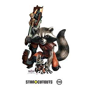 Star Cutouts SC1415 Ltd Rocket Raccoon Baby Groot - Recorte de cartón para abanicos de Marvel, altura 133 cm, ancho 91 cm, multicolor