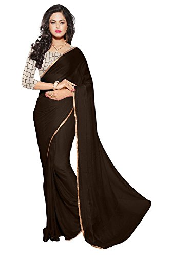 Sarees(Chiffon plain lace border Saree& net embroidared blouse)  available at amazon for Rs.327
