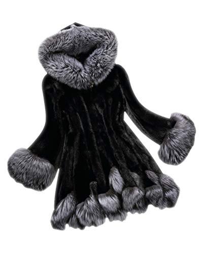 Suncaya donna cappotto di pelliccia faux giacca invernale cappotto lunghe casual elegante lunghe cappotti nero xl