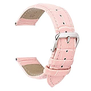18mm Pink Leather Watch Strap Band Replacement Padded Alligator Grained Classic pin Buckle