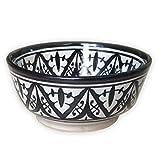 Marokkanische Schale Schwarz Weiß | bunte marokkanische Keramik Schale bunt aus Marokko | Keramikschalen flach Geschirr aus dem Orient handbemalt