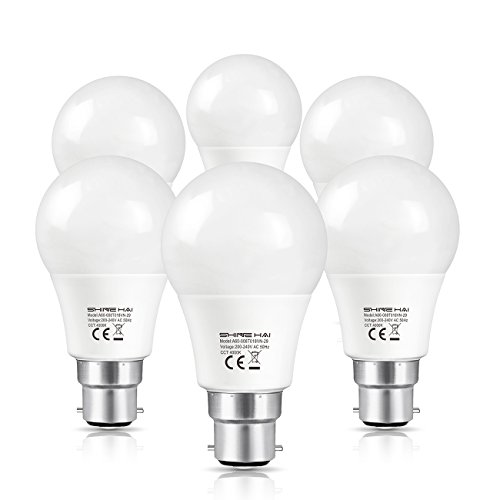 SHINE HAI B22 LED Bayonet Light Bulbs 60W Equivalent, 8W LED B22 BC Bulb, A60, Daylight White(4000K) Frosted Globe GLS Bulb, Ultra Bright 800Lm, Non-Dimmable, Energy Saving Light Bulbs, 6-Pack