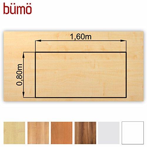 Bümö® stabile Tischplatte 2,5 cm stark - DIY Schreibtischplatte aus Holz | Bürotischplatte belastbar mit 120 kg | Spanholzplatte in vielen Formen & Dekoren| Platte für Büro, Tisch & mehr (Rechteck: 160 x 80 cm, Ahorn) -