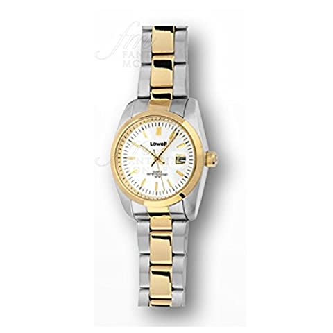 Lowell Women Clock Work Classic White Dial Date Display Gold Steel pl5200–21