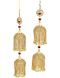 MUCH MORE Classic Gold Tone Bridal Kaleera With Crystal Stone Wedding Wear Indian Traditional Jewellery