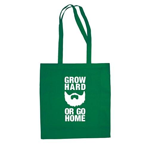 Baumwolltasche Jutebeutel -- Grow Hard or Go Home rot-weiss