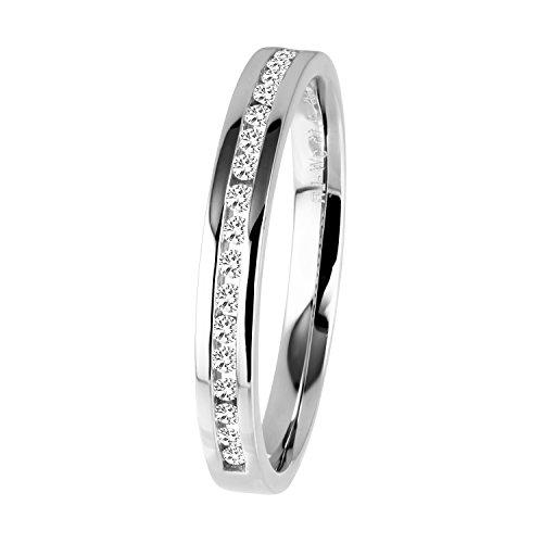Diamond Line Diamant-Ring Damen 585 Weißgold mit 19 Brillianten 0.15 ct. Lupenrein