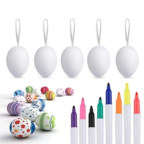 Característica: Huevo de pascua: con ocho pluma de acuarela. Puede pintar estos huevos blancos en diferentes patrones y colores, puede pintarlos a mano, por lo que es normal ver la línea de mano de obra. Material: plástico, hecho de materiales seguro...
