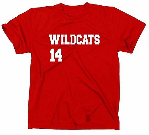 """T-shirt da uomo High School Musical""""14 Wildcats"""" Maglietta per fan di HSM, rosso, L"""