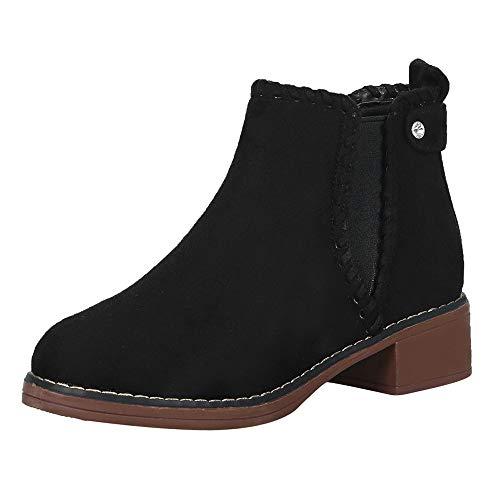 FeiBeauty Stiefeletten Damen Leder Wildleder Sommer Low Top Ankle Boots Blockabsatz Stiefel Mit Blockabsatz Elegant Schuhe Elastischer Fuß Stiefel