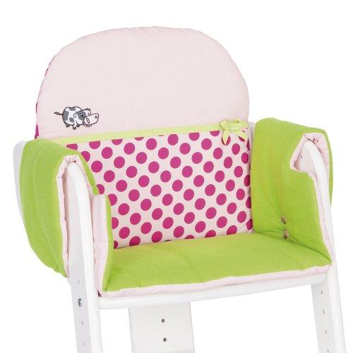 Herlag Sitzpolster für Tipp Topp IV Hochstuhl - Stuhlkissen für Kinder - bequeme & abwaschbare Sitzauflage - aus Baumwolle - grün mit rosa Punkten