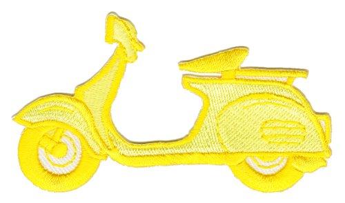 Roller Gelb Aufnäher Bügelbild Aufbügler Iron on Patches Applikation Kleidung Roller-patch