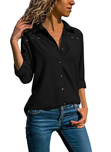 Quceyu Damen Bluse Langarm V-Ausschnitt Elegant Einfarbig Hemd Casual Oberteile Top (Schwarz, Large) - Button-down V-neck T-shirt
