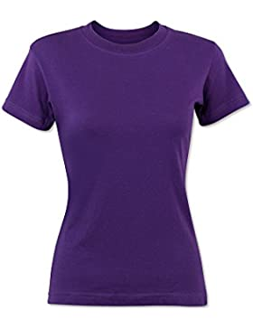 Alexandra stc-nf2pu-s t-shirt da donna, tinta unita, 100% cotone, taglia S, viola
