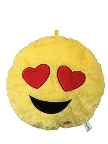 Desire Deluxe® 34cm Pillow Cushion Light Up Bright Light Pillow Beating Heart Eye Color Changing Ornament Smile Styles Yellow Round Cushion Pillow Emoticon Stuffed Plush Soft Face Doll Toy Decor. (Heart Eye Light