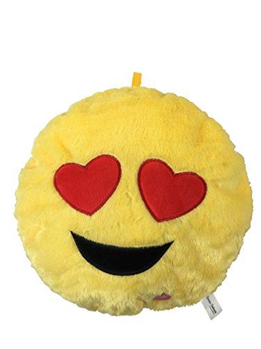Desire Deluxe® Smile Styles Emoji-Rundkissen, Emoticon, , weiche Füllung, Plüsch-Gesicht, Puppe, Spielzeug, Dekor. Hochwertiges Produkt. Heart Eye Light Up