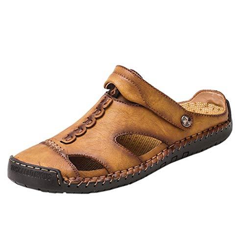 AIni Herren Schuhe Mode Beiläufiges 2019 Neuer Heißer Outdoor Strand Sandalen Lässige Atmungsaktivee rutschfeste Sandalen Runde Zehen Sandalen Freizeitschuhe Strand Partyschuhe (48,Gelb) (Rosa Boot-gamaschen)