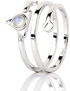 Luna Azure Natürlich Mondstein 925 Sterling Silber Verstellbar Unisex Ring