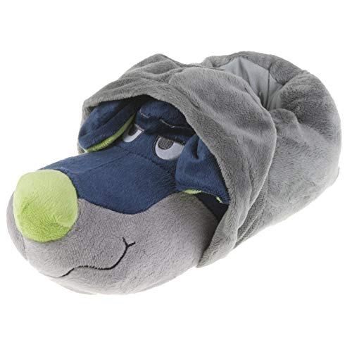 Tierhausschuhe Unisex Hausschuhe Hoodie Hund, Grau Blau, 44/45, TH-HG