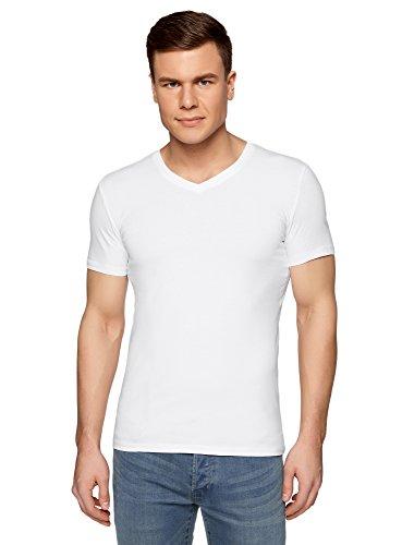 oodji Ultra Herren Tagless T-Shirt Basic mit V-Ausschnitt, Weiß, De 58-60/XXL (5 T-shirt Langarm)