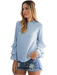 37b4fbfaeb5a7 Rcool Mujeres de Moda Suelta Informal Plegable Mangas Blusa de Manga Larga  (Tamaño es un