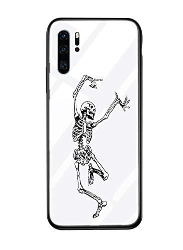 für Huawei P20 Lite Hülle Transparent Silikon Rahmen Handyhülle Durchsichtig Aufklappen Schutzhülle,Gehärtetem Glas Bumper Tier Süß für Huawei P20 Lite (Skull) ()