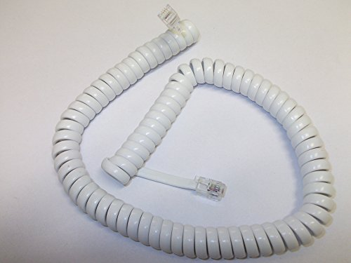 2 x White 1.5 Metre Coiled Curly Telephone Handset Headset Cable RG10 Plug White Coiled Handset