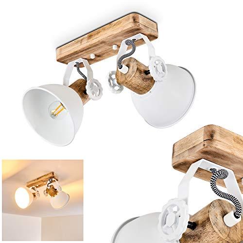 Deckenleuchte Orny, Deckenlampe aus Metall/Holz in Weiß/Braun, 2-flammig, mit verstellbaren Strahlern, 2 x E27-Fassung max. 60 Watt, Spot im Retro/Vintage Design, für LED Leuchtmittel geeignet