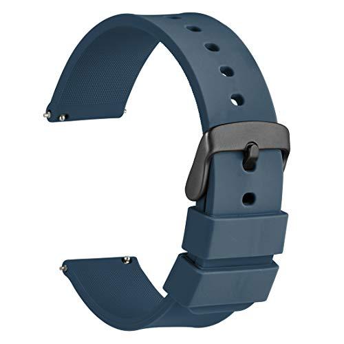 WOCCI 22mm Cinturino Orologio in Silicone con Fibbia Nera, Sgancio Rapido...