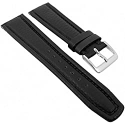 Graf Manufaktur Montana Replacement Band Watch Band Nappa Strap black leather 26279S, width:19mm