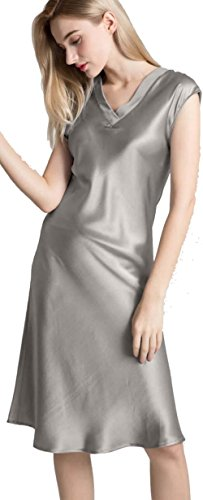 Silkmood Donna Silk Satin pigiama Silk Lingerie Nightdress Camicia da notte Sleepwear V Neck Grigio perla