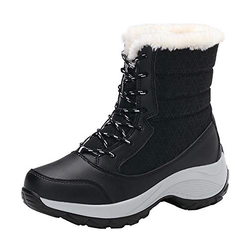 MOTOCO Women Snow Boots Increased Ankle Outdoor Non-Slip High-Top Travel Shoes Plus Velvet Warm Cotton