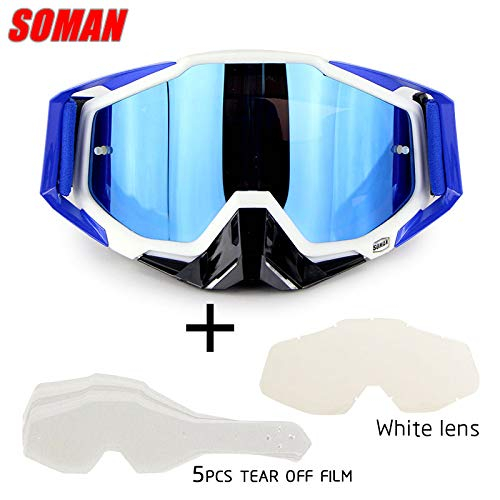 elegantstunning Motorrad-Cross-Country-Brille Outdoor-Brille Set mit transparenter Linse und zerreißbarer Folie White Suit