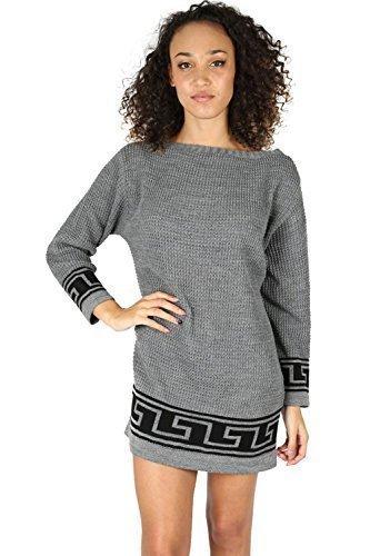 Damen Kleid Top grob gestrickt griechischer Aufdruck schulterfrei Bardot Baggy Übergröße langer Pullover - Mittelgrau/weiß, Übergröße (EU (Muster Kleid Griechische)