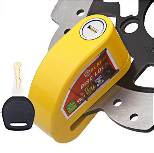 Cerradura del freno de disco de la vespa de la motocicleta, cerradura antirrobo del freno de disco de la rueda de aluminio de la bicicleta del motor, protección de la alarma de seguridad,Yellow