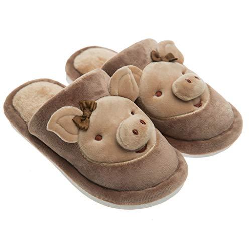 BoyYang Kinder Hausschuhe Plüsch Kinderschuhe Winter Baumwolle Pantoffeln Cartoon Schwein Warme Weiche rutschfeste Sohle für Kleinkinder Niedliche Hüttenschuhe für Mädchen und Jungen(36 EU,Kaffee