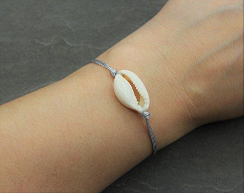 Damen Armband Kaurischnecke Kauri Muschel mit Silber Grau Textil Band Boho Bohemian Handmade Schmuck (Kauri-muschel-schmuck)
