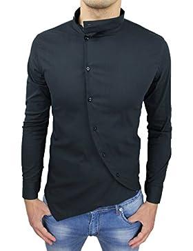 Camicia uomo cotone Slim Fit nero casual elegante con colletto coreana e bottoni trasversali