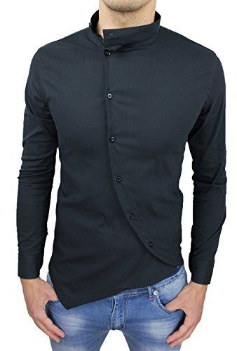 Camicia uomo cotone slim fit nero casual elegante con colletto coreana e bottoni trasversali (xl)