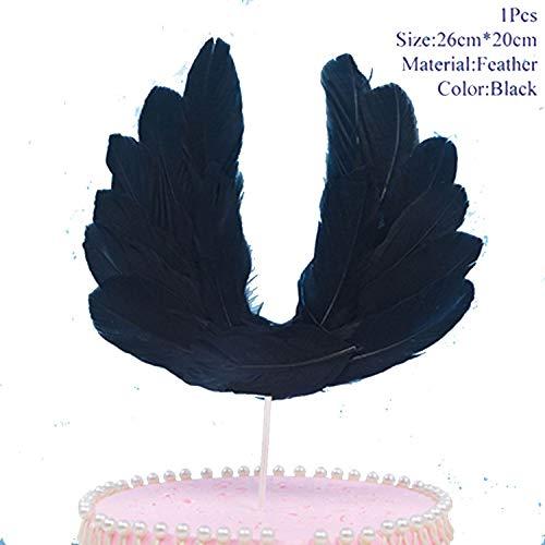 Tortenaufsatz für Hochzeit, Babyparty, Einhorn, Einhorn, Hochzeit, Dekoration für Kuchen, Dekoration, Einhorn T1020-feather Black