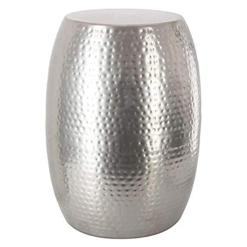 Atmosphera Table Basse Guéridon en métal martelé Robuste - Chic & Design - Coloris Gris Argent